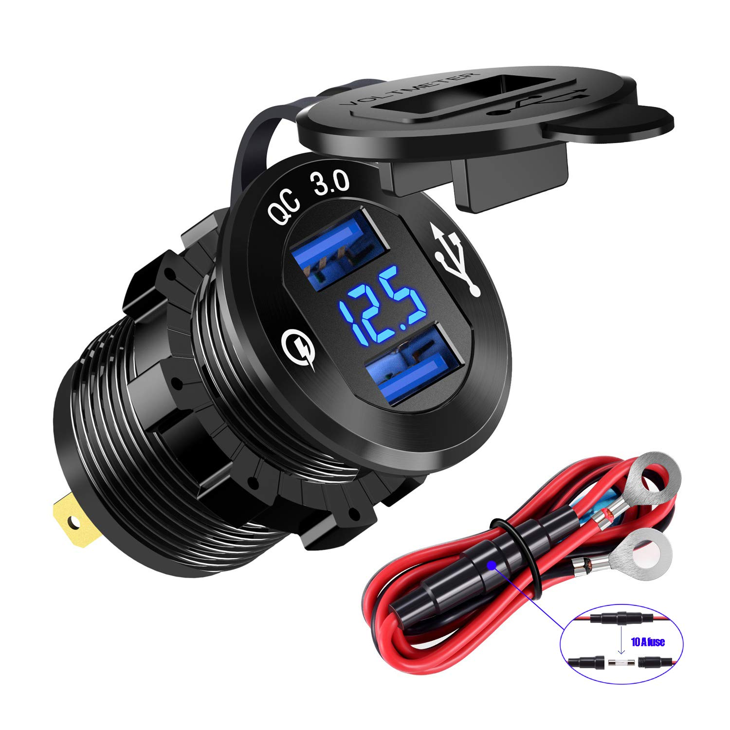 YonHan Quick Charge 3.0 Dual USB Charger Socket, Waterproof Aluminum Power Outlet Fast Charge with LED Voltmeter & Wire Fuse DIY Kit for 12V/24V Car Boat Marine ATV Bus Truck and More  by YONHAN