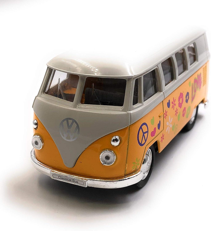 Onlineworld2013 Modellauto T1 Love Bulli Bus Love Zuf/ällige Farbe Auto Ma/ßstab 1:34-39 lizensiert