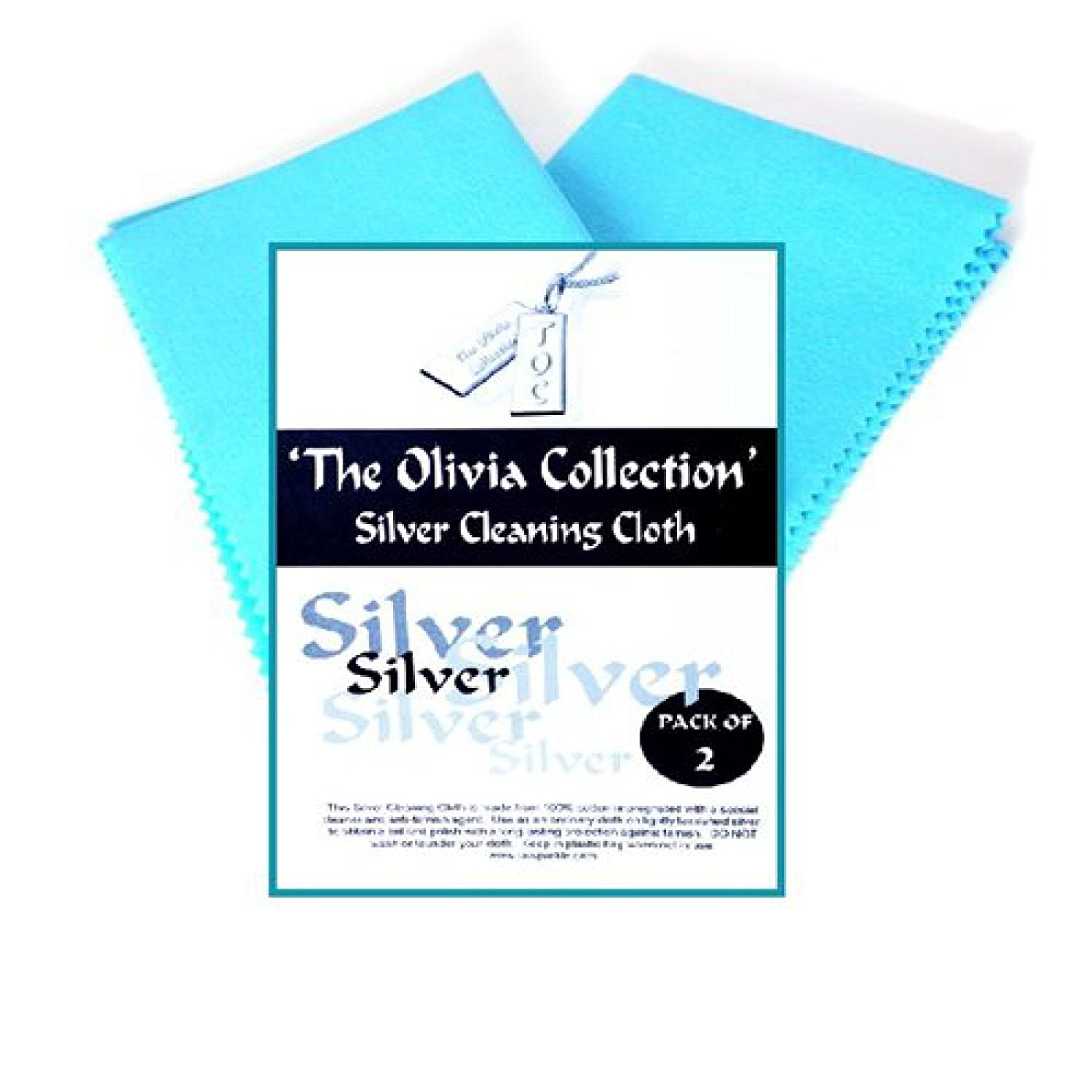 TOC Anti Tarnish Silver Polishing Cloth X 2, LARGE 220mm x 315mm, 8.7 x 12.4 The Olivia Collection 8.7 x 12.4 Direct Diamond Centre SC04