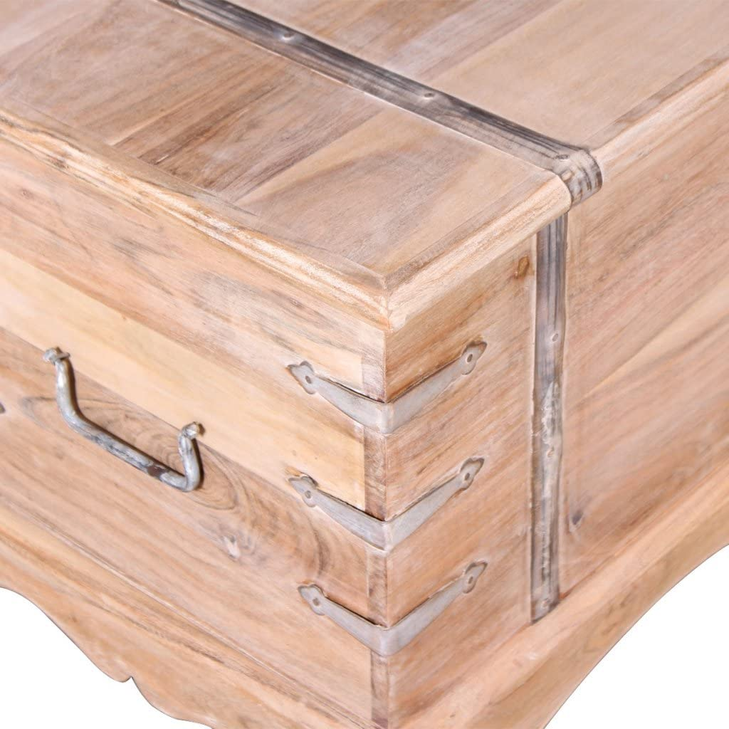Festnight Storage Chest Boxes with Lid Solid Acacia Wood for Home 90 x 40 x 40 cm