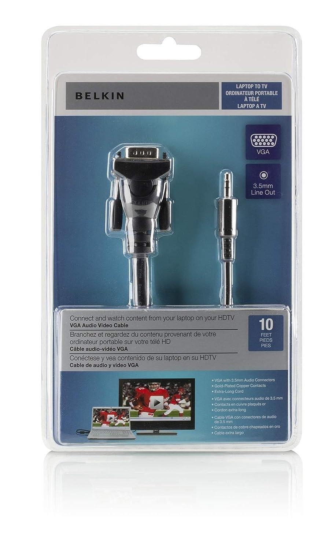 Amazon.com: Belkin Micra Digital Laptop to TV VGA Audio Video Cable ...