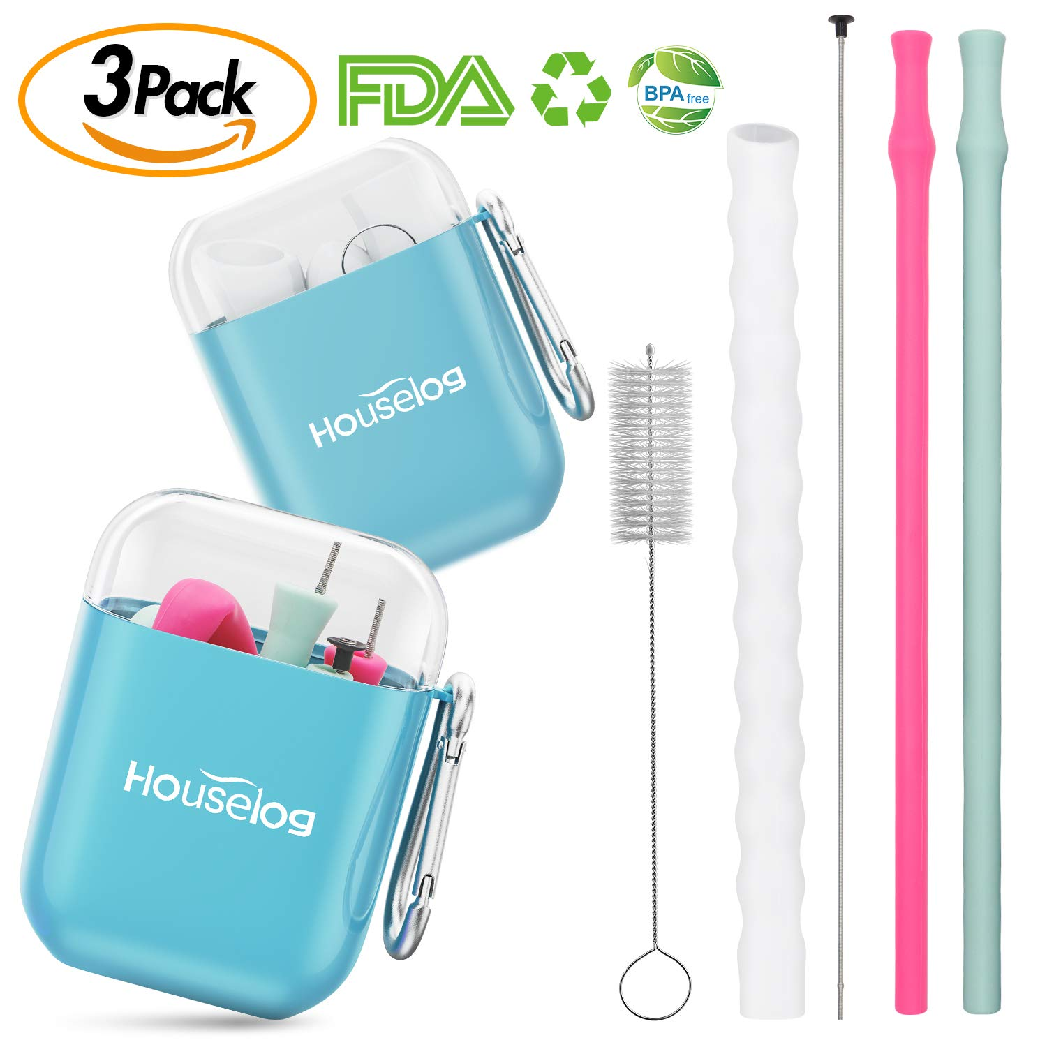 Houselog Silicone Reusable Straws,Small Large Size Collapsible Straw Cleaning Brush for Drink and Water 3PCS