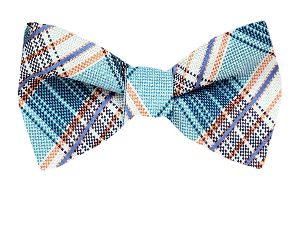 Silk Plaid Aqua Self Tie Bow Tie