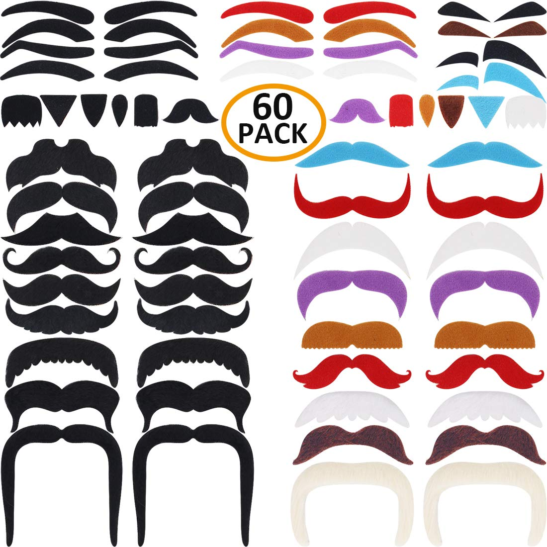 DecoTiny 60 Pack Stick On Fake Mustache Eyebrow Beard Self Adhesive Costume for Kids and Adults
