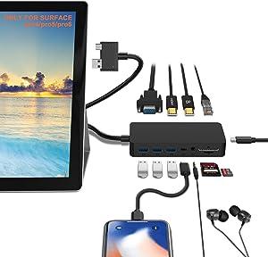 Surface Pro Docking Station para Pro 6/5/4 Hub con 4K HDMI, VGA, DP, RJ-45 Gigabit Ethernet, 3 puertos USB 3.0, puerto USB C, puerto de salida de audio, lector de tarjetas SD/TF, micro Puerto USB