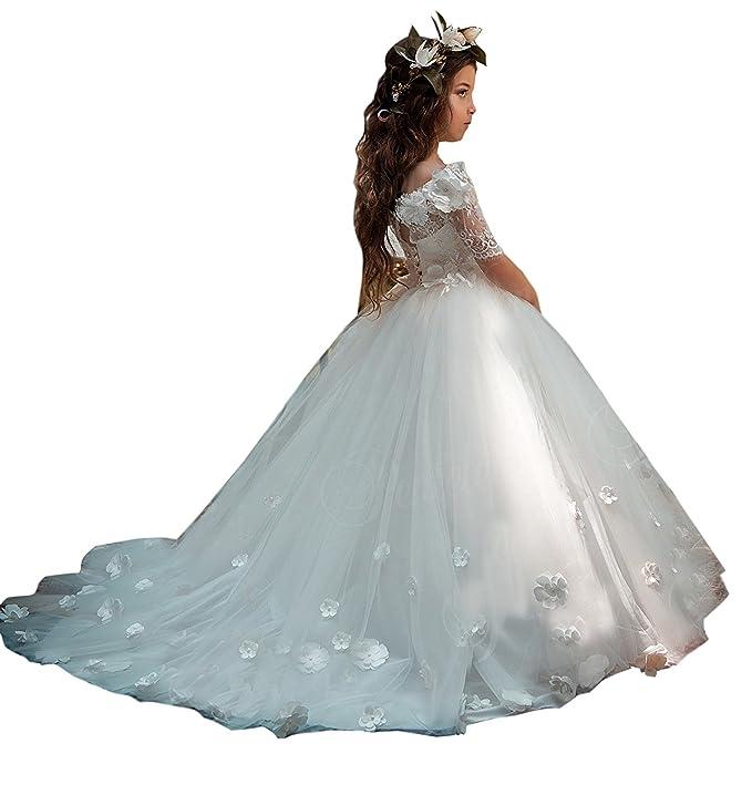 Vestido Blanco De Princesa Niña Para Fiestas Boda Bautizo