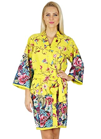 1b95aa9d64 Bimba Women Cotton Printed Floral Robe Bridal Bridesmaid Getting Ready  Coverups  Amazon.co.uk  Clothing