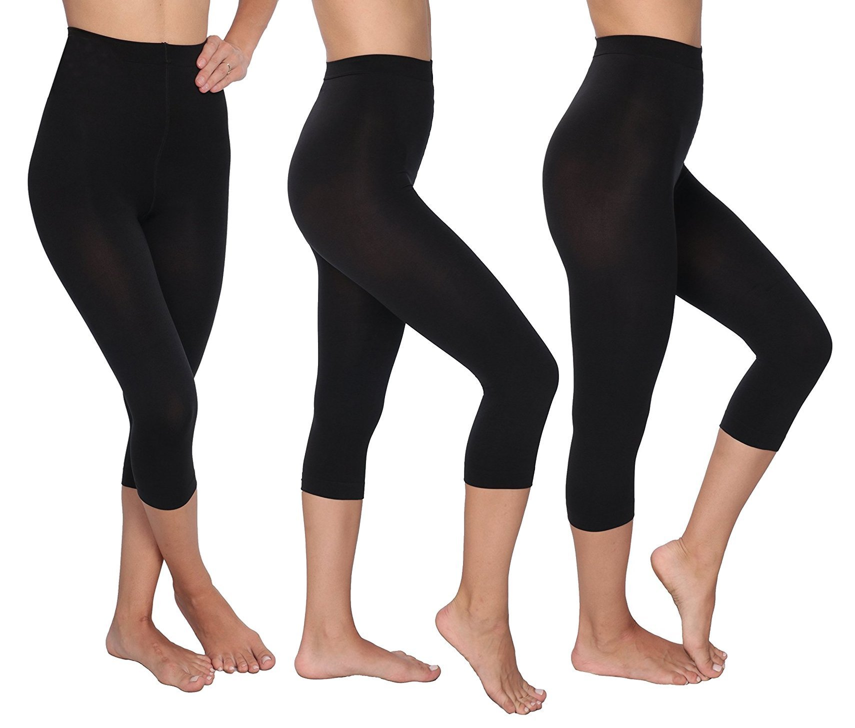 L'eggs Control Top Capri Footless Tights, 3 Pack, Black, Large