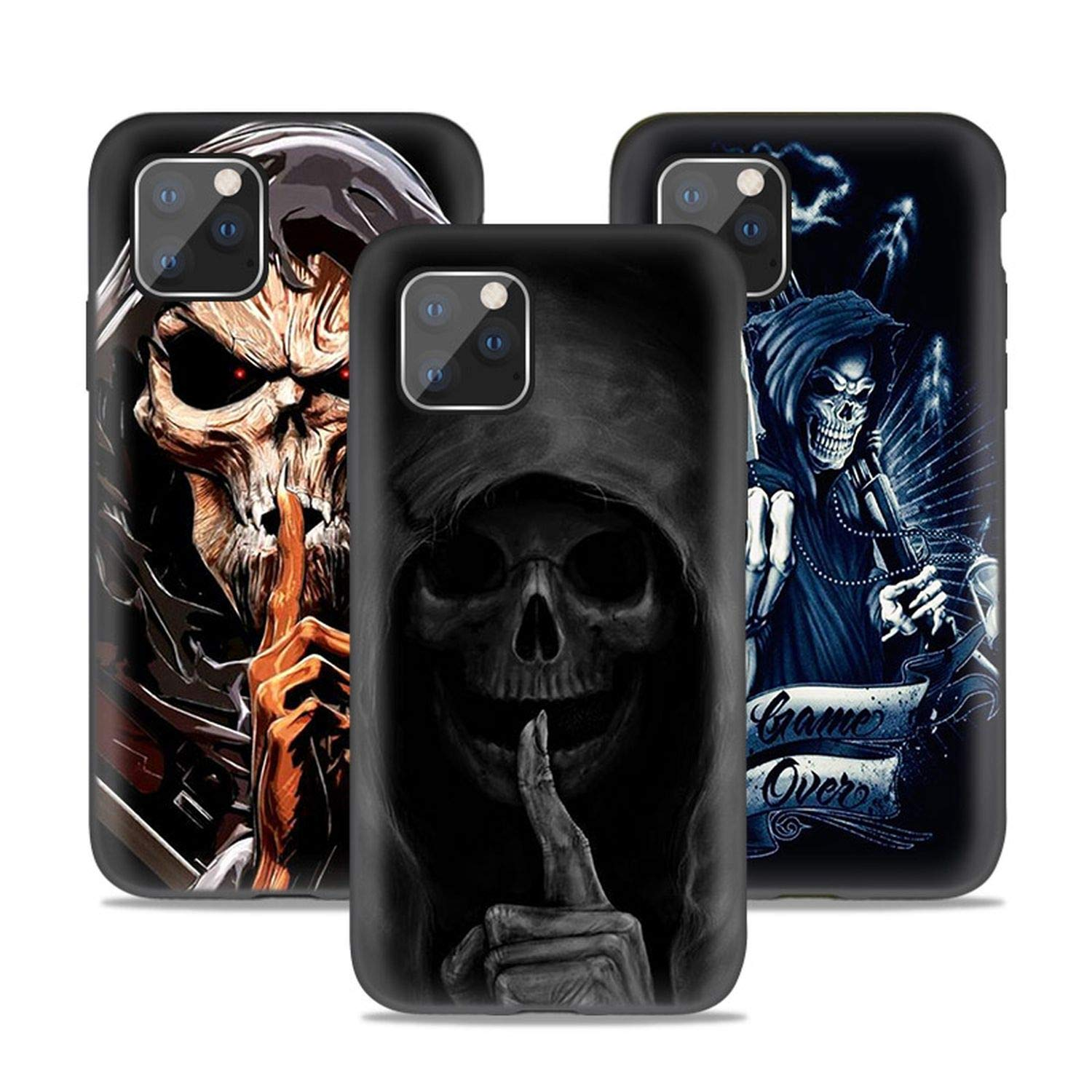 Grim Reaper Skull Case for iPhone 11 Pro XS Max XR X 10 7 8 6 6S Plus 5S 5 SE 7S Black Silicone Phone Coque Cover Fundas Capa,for iPhone XR,B05