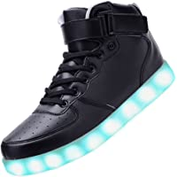 Padgene Women's Men's LED Lights Up Trainers High Top Flashing Trainers USB Charging Lace Up Couples Shoes (7 Colors)