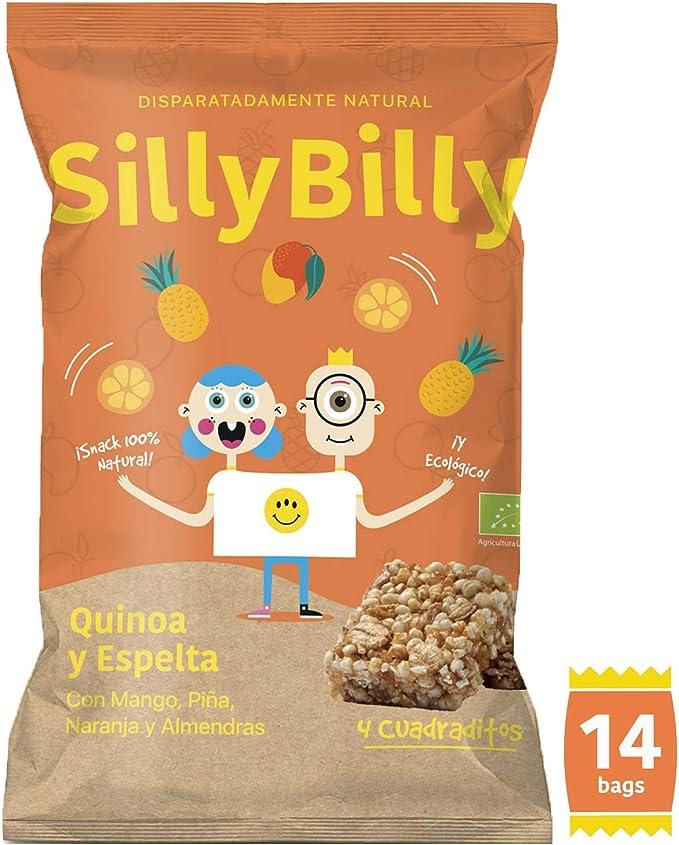 SillyBilly Cuadraditos horneados BIO de Quinoa, Espelta, Mango, Piña, Naranja y Almendra (Pack 14 X 24g).: Amazon.es: Alimentación y bebidas
