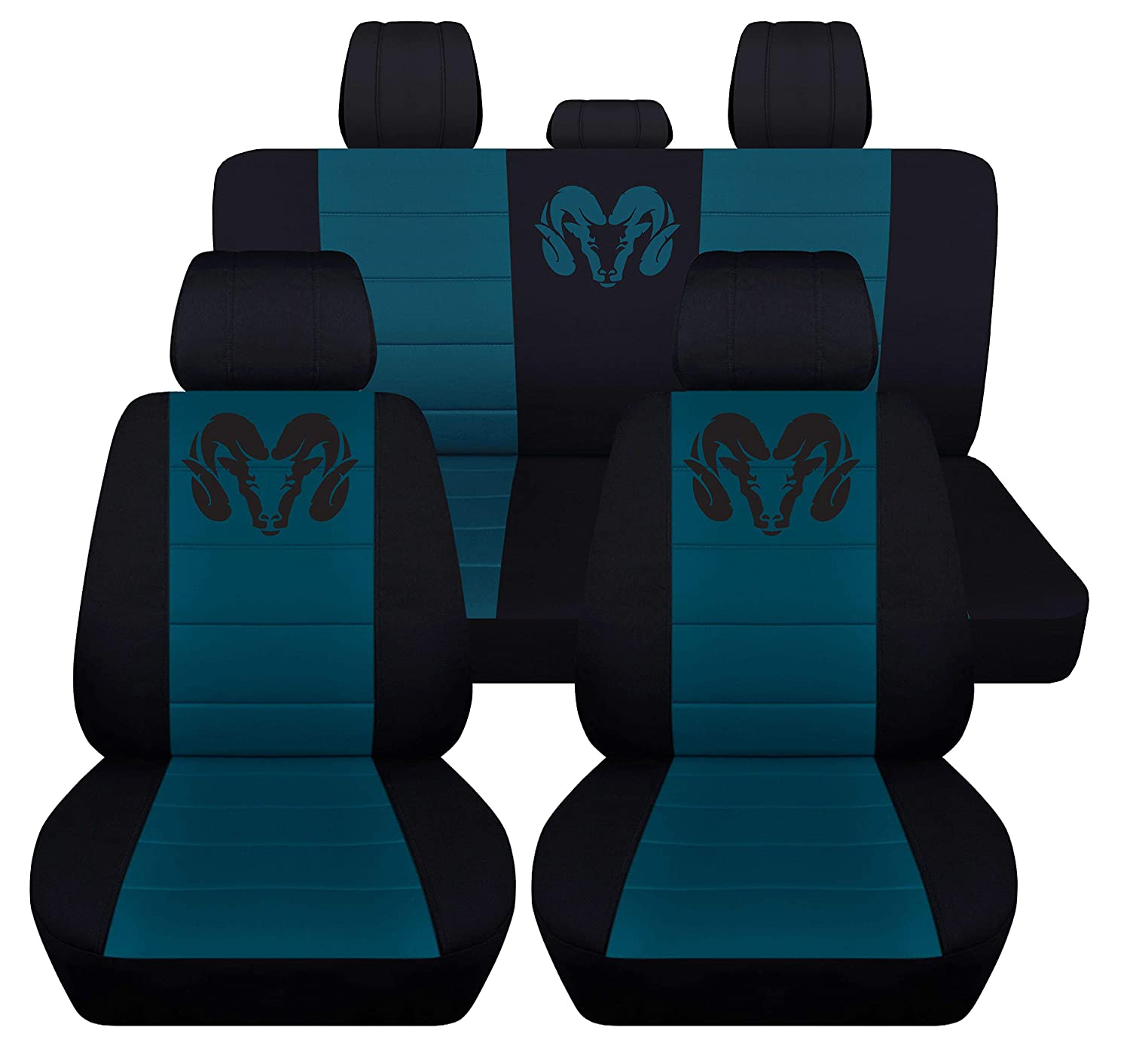 Solid Rear Bench, Black Red Fits 2012 to 2018 Dodge Ram Front and Rear Ram Seat Covers 22 Color Options