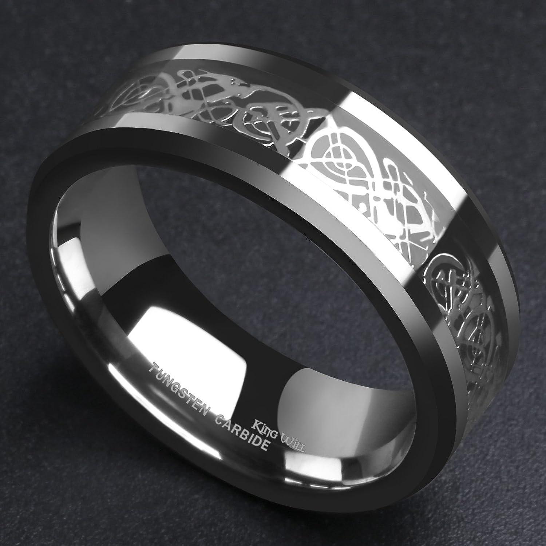 King Will DRAGON Men Tungsten Carbide Ring Wedding Band 8mm Silver