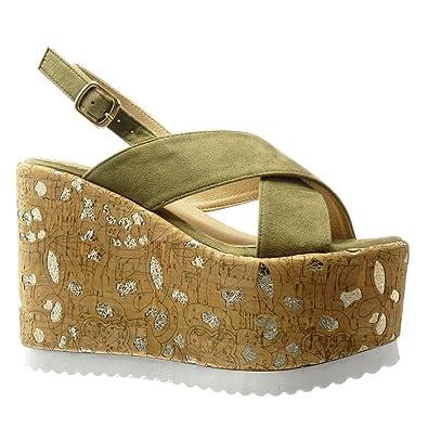 watch 00f0d 1f982 Angkorly - Damen Schuhe Sandalen Mule - Plateauschuhe - Kork - Fantasy -  golden Keilabsatz high Heel 12.5 cm