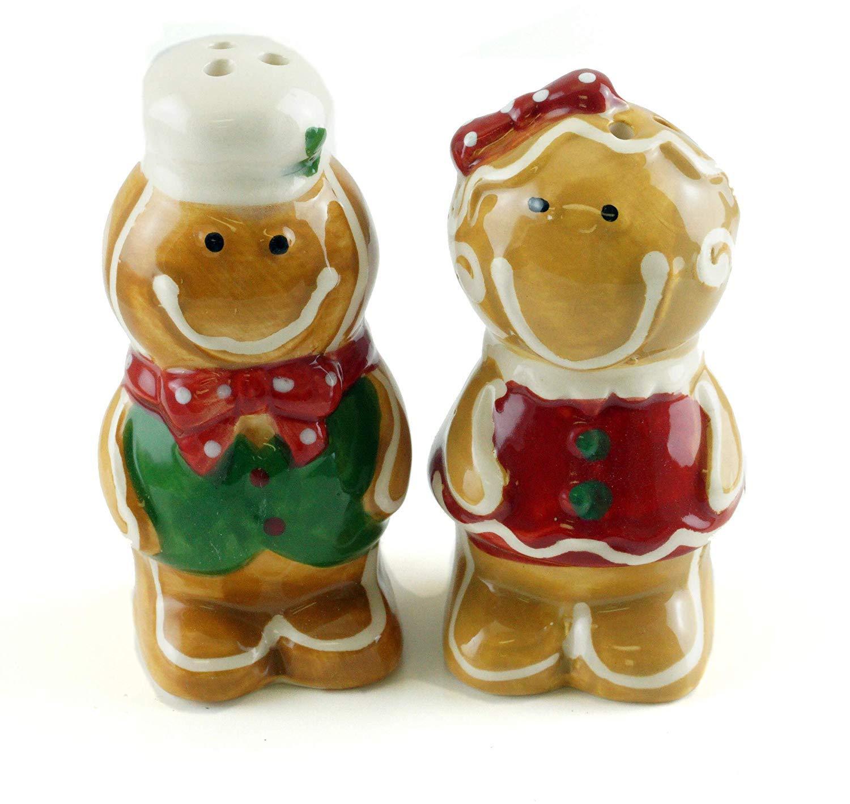 Gingerbread メンズ&レディース セラミックソルト&ペッパーシェイカーセット B07JN6Y9BM