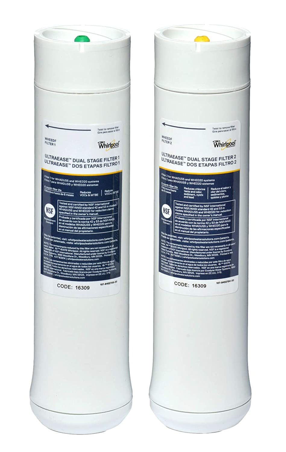 Whirlpool WHEEDF Dual Stage Ultraease Replacement Water Filters Genuine New