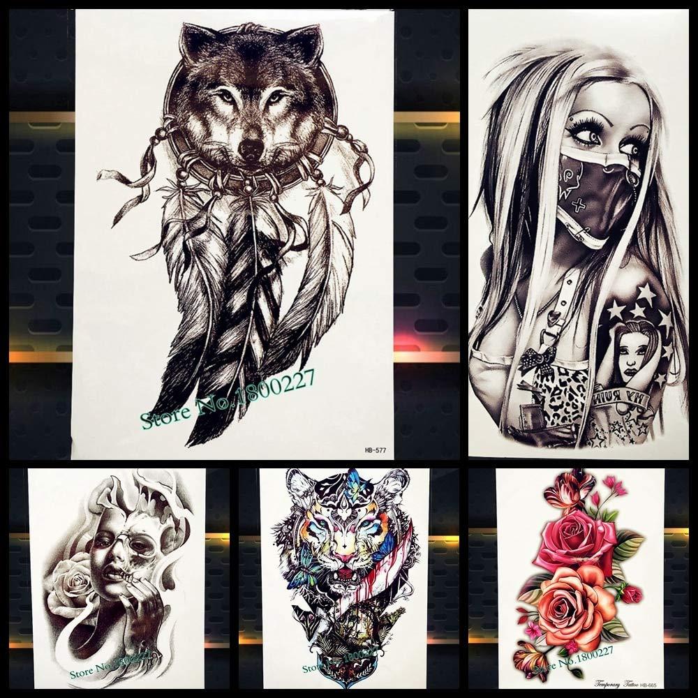 45560d6c7 Rejaski New Dreamcatcher Wolf Totem Temporary Tattoo Stickers For Women  Body Art Fake Flash Tattoo Dream Catcher Wings Tatoo Men Arm Leg(Set of 2):  ...