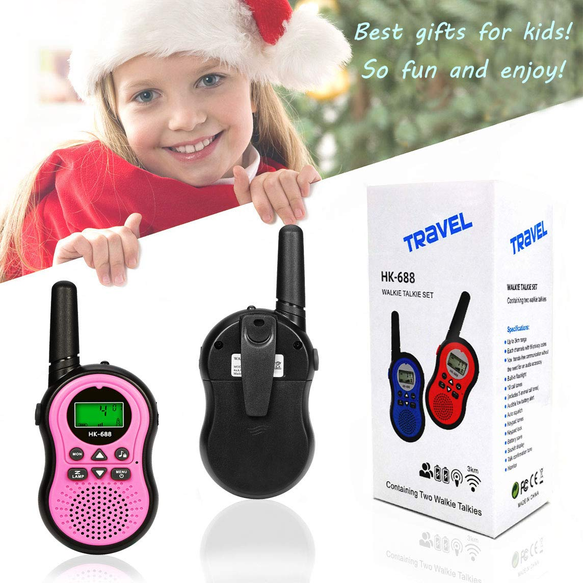 Toys for 3-12 Year Old Boys, BIBOYELF Walkie Talkies for Kids Toys for 3-12 Year Old Girls,5-9 Year Old Girl Birthday Gift,Outside Toys for Kids Outdoor Play,HK-688 1Pair(Pink) by BIBOYELF (Image #7)