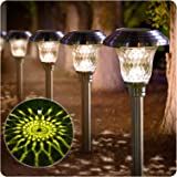 BEAU JARDIN 8 Pack Solar Lights Bright Pathway Outdoor Garden Stake Glass Stainless Steel Waterproof Auto On/off White Wirele