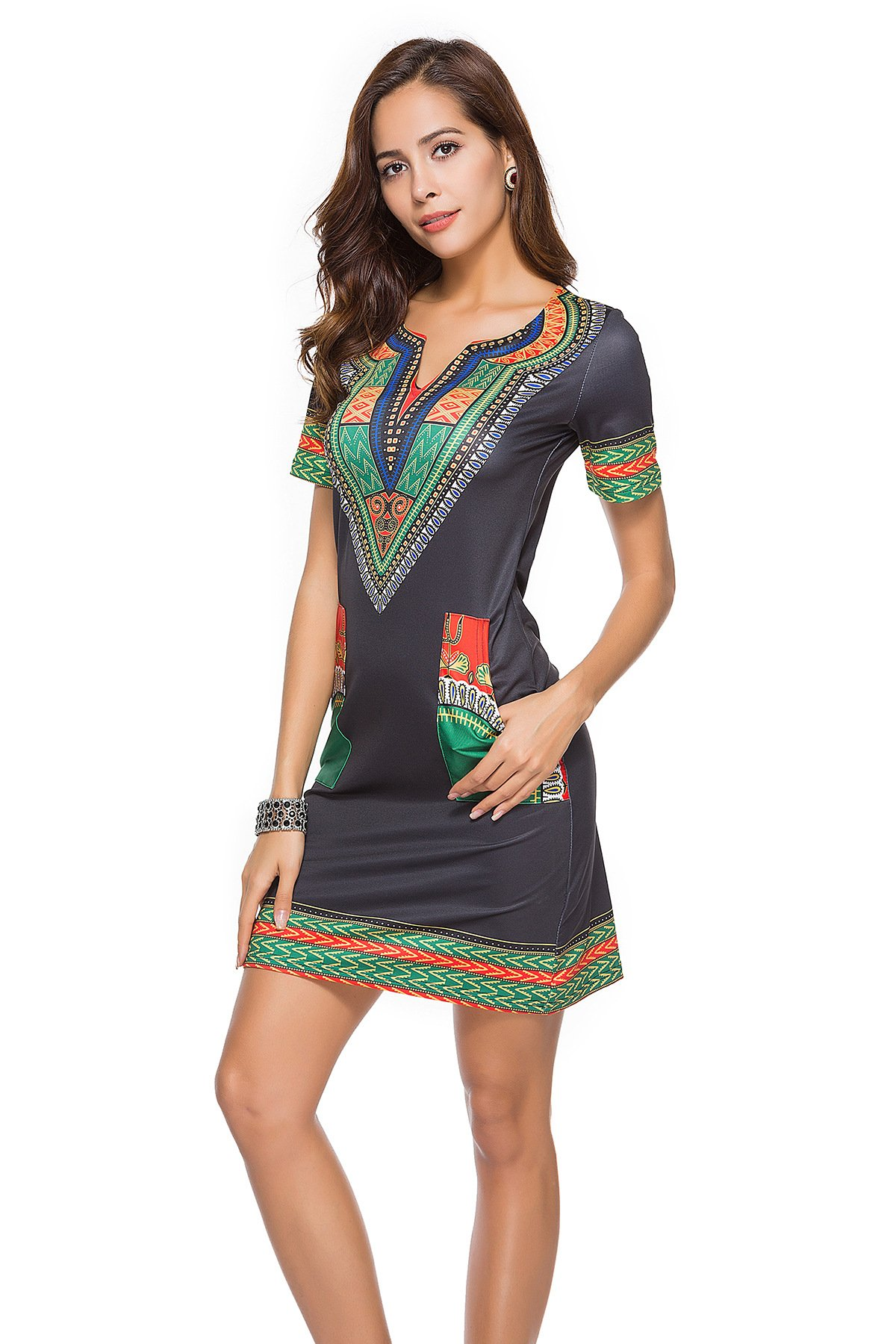 TOSHOW Fashion Dress, V-Neck Print Skirt, Summer Dress (Short Sleeve, 2 Colors, 5 Sizes) (Black Bottom Green, M)