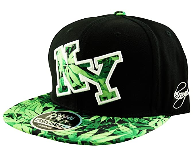 5dc36496 New York NY Snapback Baseball Hat Cap Jungle Weed Leaf Peak in Black and  Green