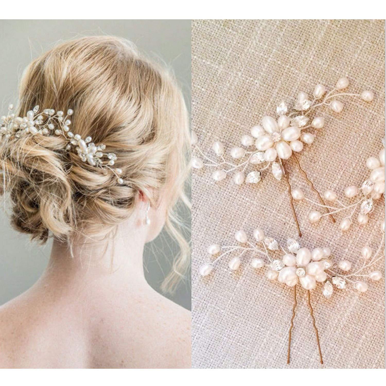 Hair pins 3 Gold hair pins Gold hairpiece Gold headpiece Crystal pins Bridesmaids hair pins Brides hair piece Bridal hair accessories