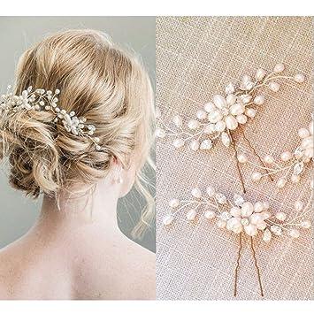 Bridal Hair Pins - 3pcs Fashion Retro Elegant Ladies Pearl Rhinestone Hair  Accessories for Wedding Bridal e0a05fbb0170