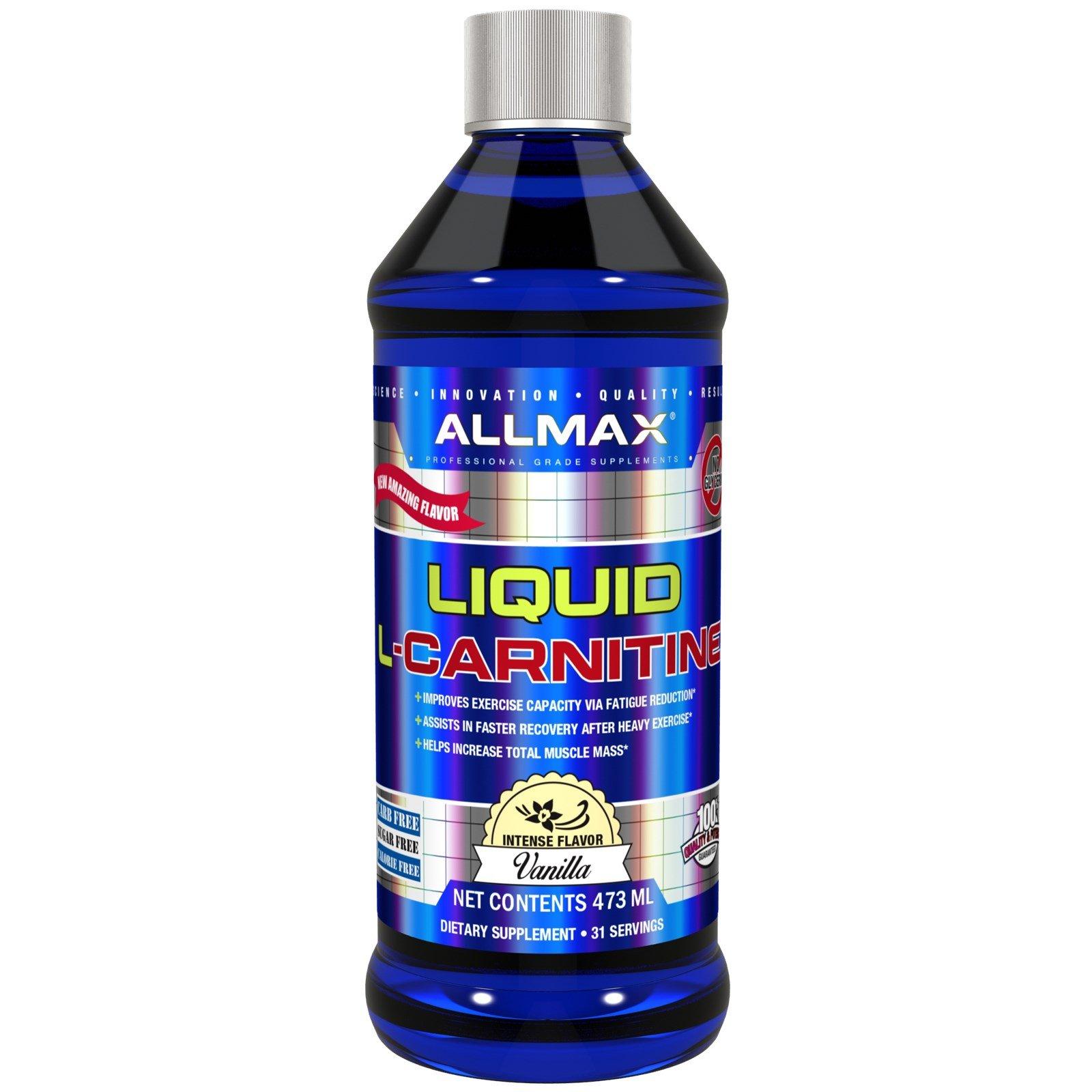 ALLMAX Nutrition L-Carnitine Liquid Vitamin B5 Vanilla Flavor 16 oz 473 ml