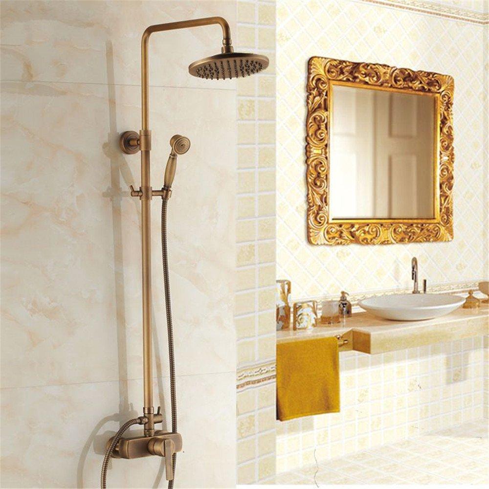 Bijjaladeva Miscelatore per Lavabo Rubinetto Bagno a Finitura Tutti rame rubinetto doccia doccia impostata nella parete sollevare colonna doccia testa di doccia e doccia a telefon