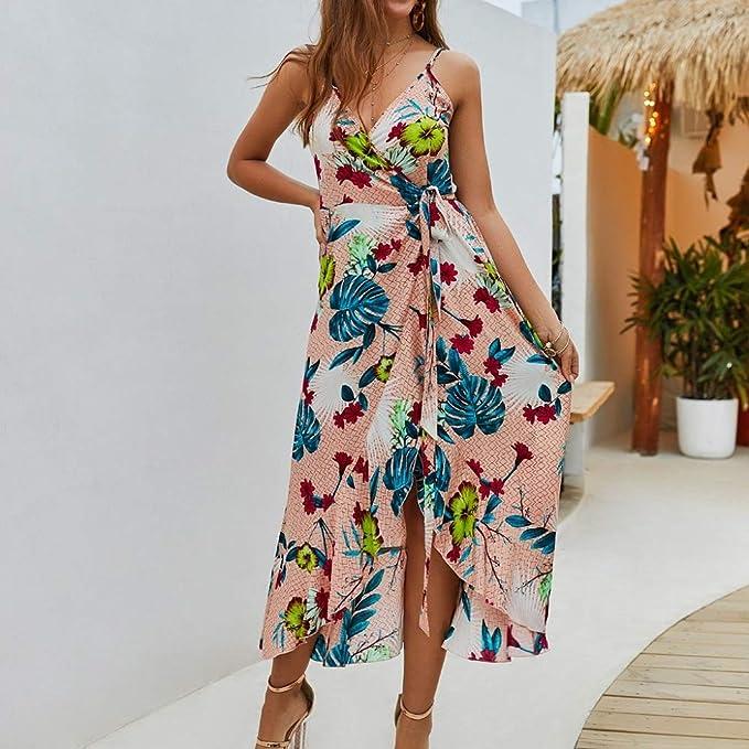 PinkLu sukienka dla kobiet, dekolt w serek asymetryczna spÓdnica z nadrukiem Sling lato elegancka sukienka S-XL rÓżowa/pomarańczowa: Odzież