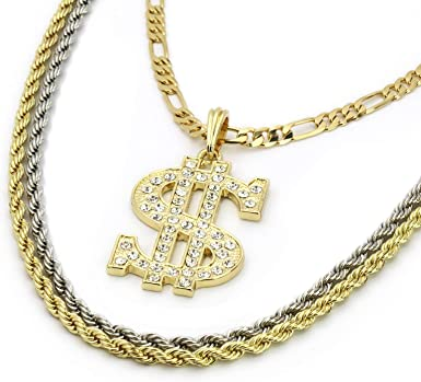 """Mens 14k Gold Plated Money Sign Cash Pendant Hip Hop 18/"""" Figaro 24/"""" Rope Chains"""