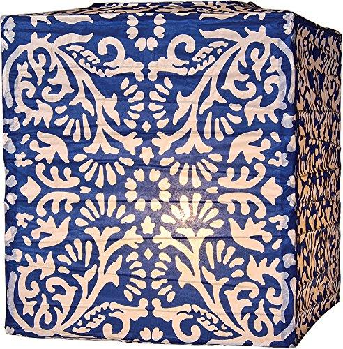 Luna Bazaar Navy Blue Block Printed Square Paper Lantern