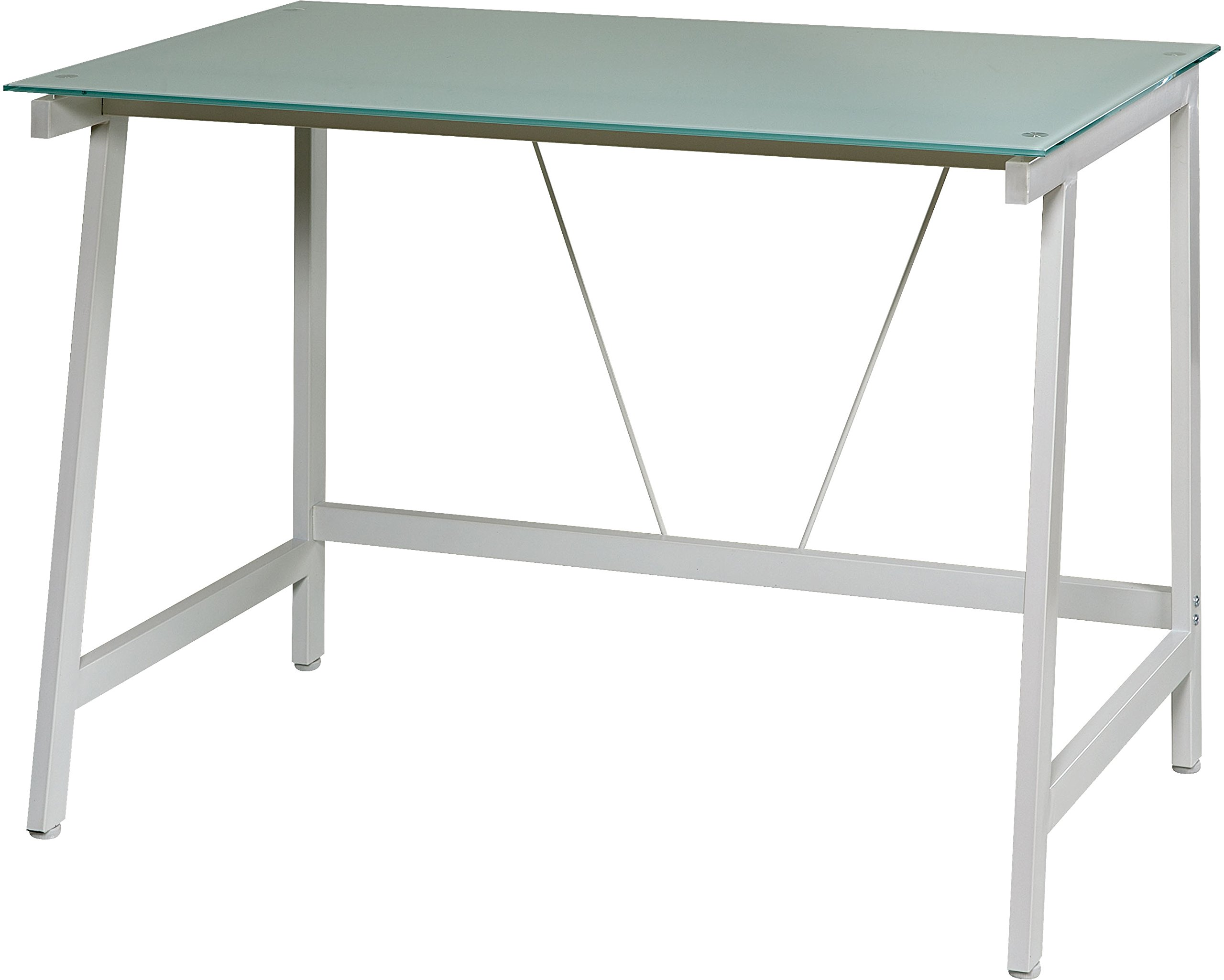 OneSpace Contemporary Glass Writing Desk, Steel Frame, White and Cool Blue by OneSpace