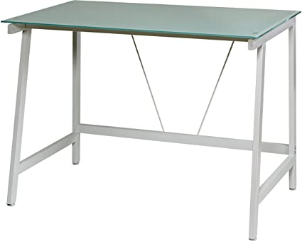 Etonnant OneSpace Contemporary Glass Writing Desk, Steel Frame, White And Cool Blue