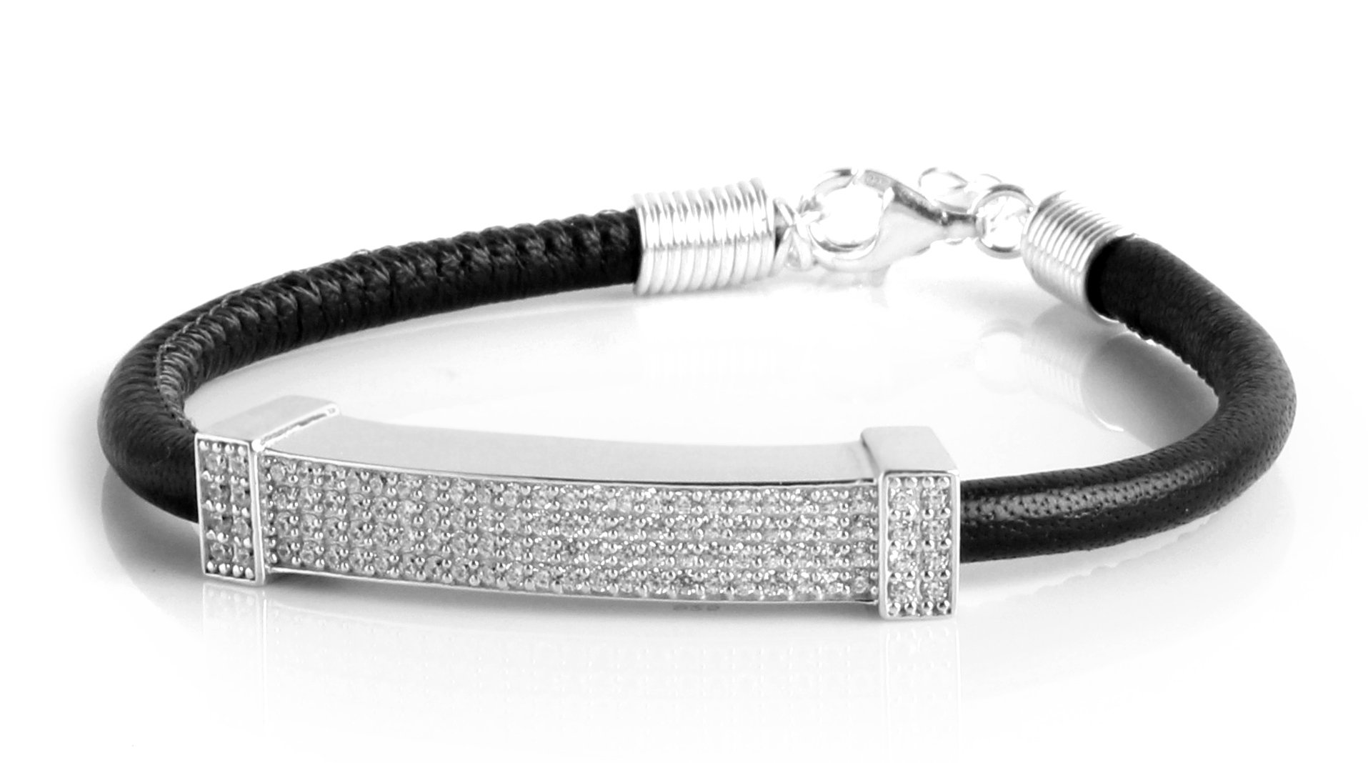 Bracelet Sterling Silver Genuine Leather 4mm Micro Pavé Edition For Womens Find Your Fit Round SB1709W (18)