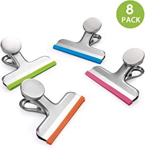 8 Pack All Purpose Chip Bag Clips with Magnet - NO More Sharp Edges - 4 Assorted Colors - Magnetic Bag Clip Great for Home, Kitchen, Refrigerator, Office, School, Whiteboard, 3 Inches
