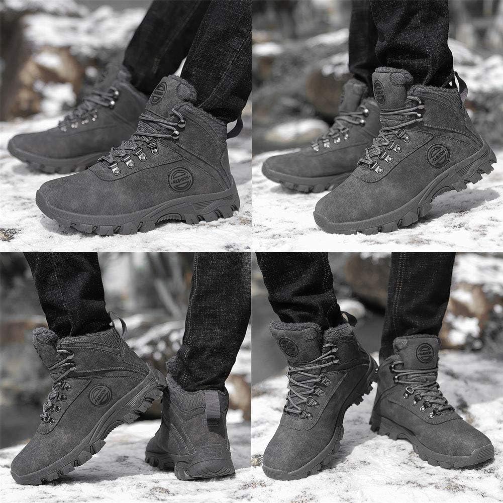 FOVSMO Mens Winter Snow Boots Waterproof Warm Insulated Non Slip Outdoorworke Trekking Ankle Bootie