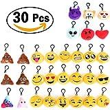 Set 30 pcs Portachiavi Peluche Faccine Emoji Morbidi Emoticon Decorazione Ideale per Zaino Borsa Regalo