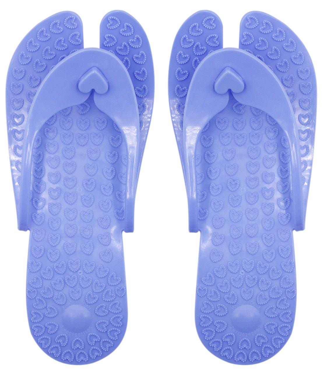 CC-US Portable & Foldable Foot Massage Slippers Non-Slip Flip-Flops Bathroom Shower Sandals for Travel Beach