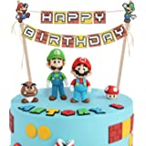 LINGTEER Super Mario Bros Happy Birthday Cake Bunting Banner Topper - Perfect for Kids Birthday Party Decorations