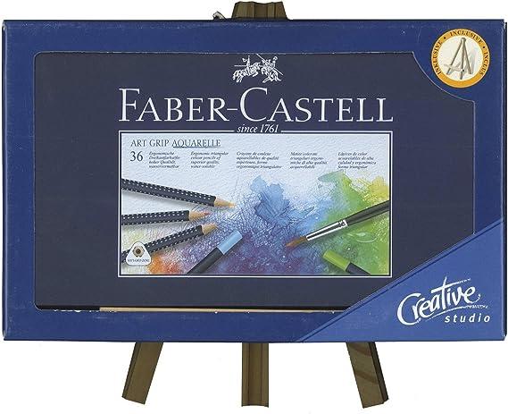 Lápices Acuarelables FABER-CASTELL Art-Grip, Caja x36 + Caballete ...