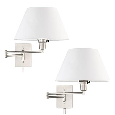 Kira Home Cambridge 13  Swing Arm Wall Lamp - Plug in/Wall Mount + White Fabric Shade, 150W 3-Way + Cord Covers, Satin Nickel Finish, 2-Pack