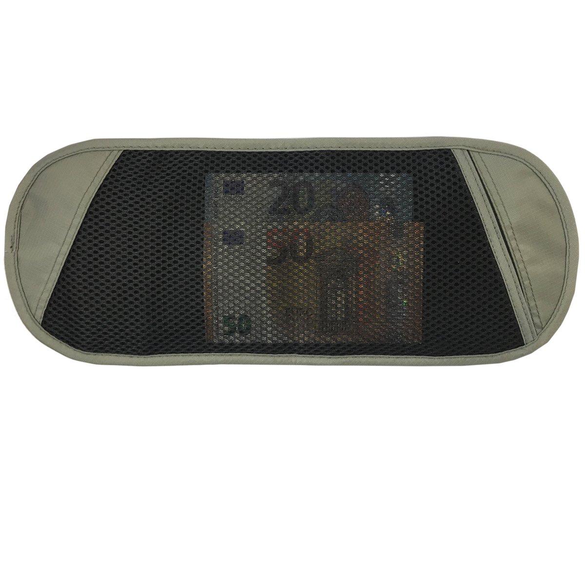 PREMYO XL Money Belt Travel Wallet Anti-Theft Waist Bag Women Men RFID Protection Hidden for Passport Cash Keys Slim Waterproof Flat 2 Straps Black