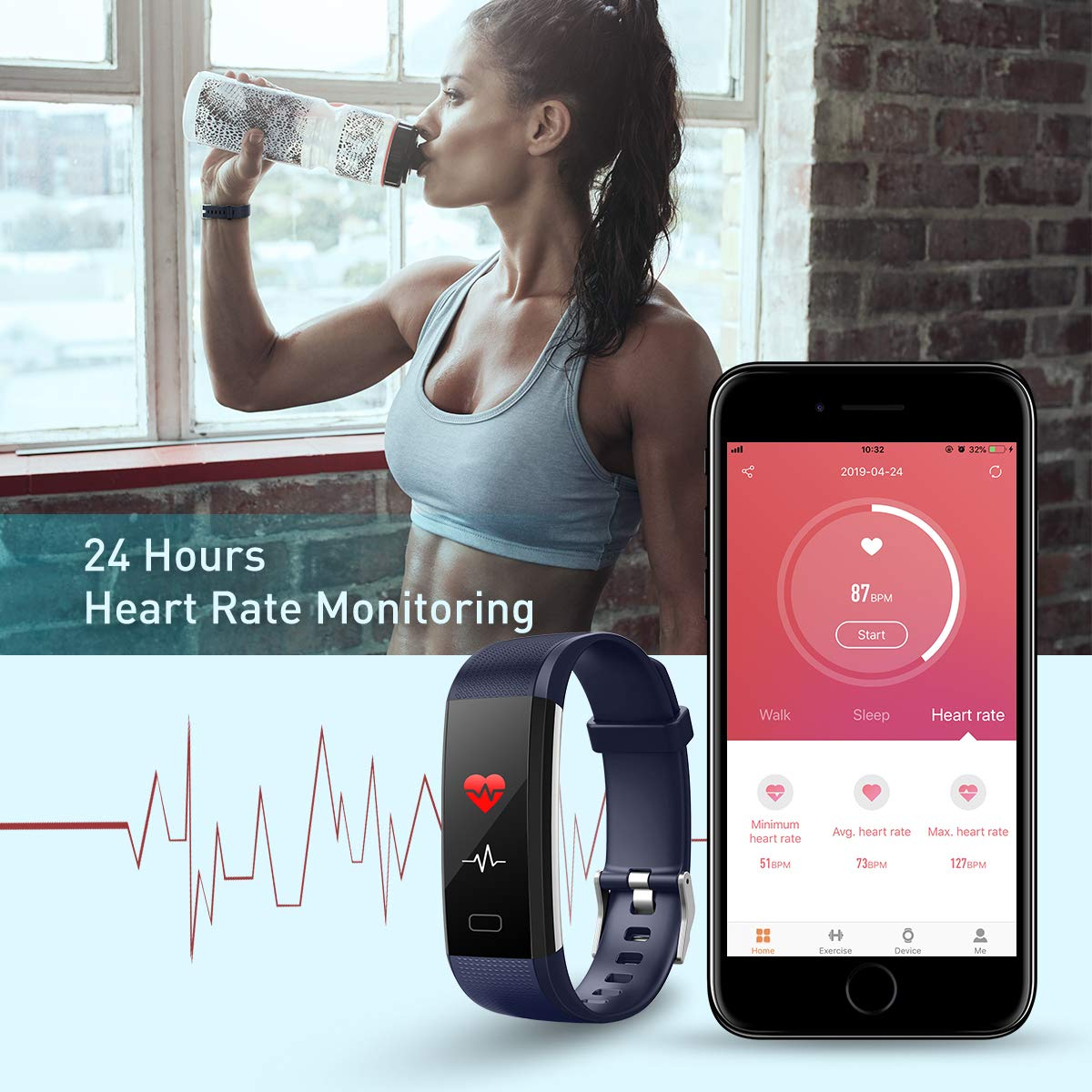 GINOZO Fitness Tracker, Activity Tracker Watch with Heart Rate Monitor, Pedometer IP68 Waterproof with Calorie Counter and Message Notification
