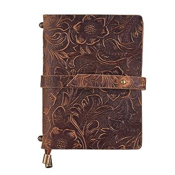Aibecy Agenda Cuero Vintage en Relieve patrón diario de viaje cuaderno forrado en blanco rejilla papel diario recargable bloc de notas de regalo para ...