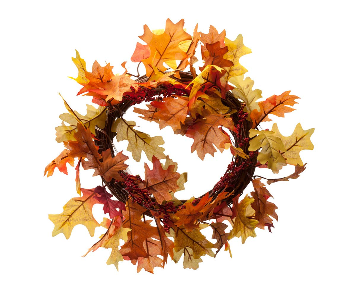 MS Home 14 in. D Autumn Red Leaves Wreath with 8 Led Lights