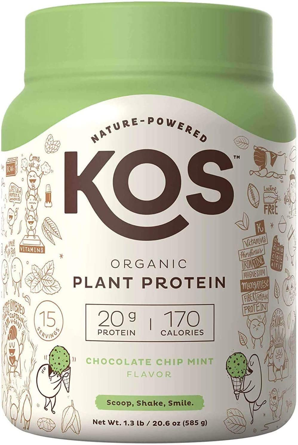 KOS Organic Plant Based Protein Powder – Chocolate Chip Mint Protein Powder – Gluten, Dairy Soy Free Vegan Protein Powder – Ideal for Meal Replacement Shakes for Weight Loss – 1.3 Pounds, 15 Serving