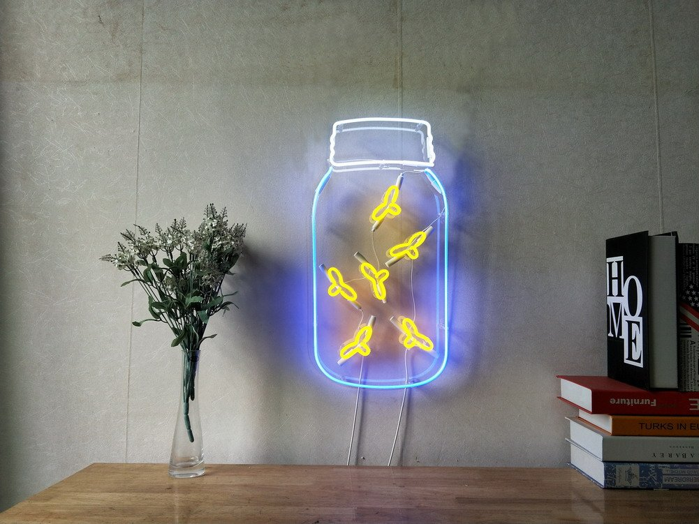 Fireflies In A Jar Real Glass Neon Sign For Bedroom Garage Bar Man Cave Room Home Decor Handmade Artwork Visual Art Dimmable Wall Lighting Includes Dimmer Artist Emily Ryder