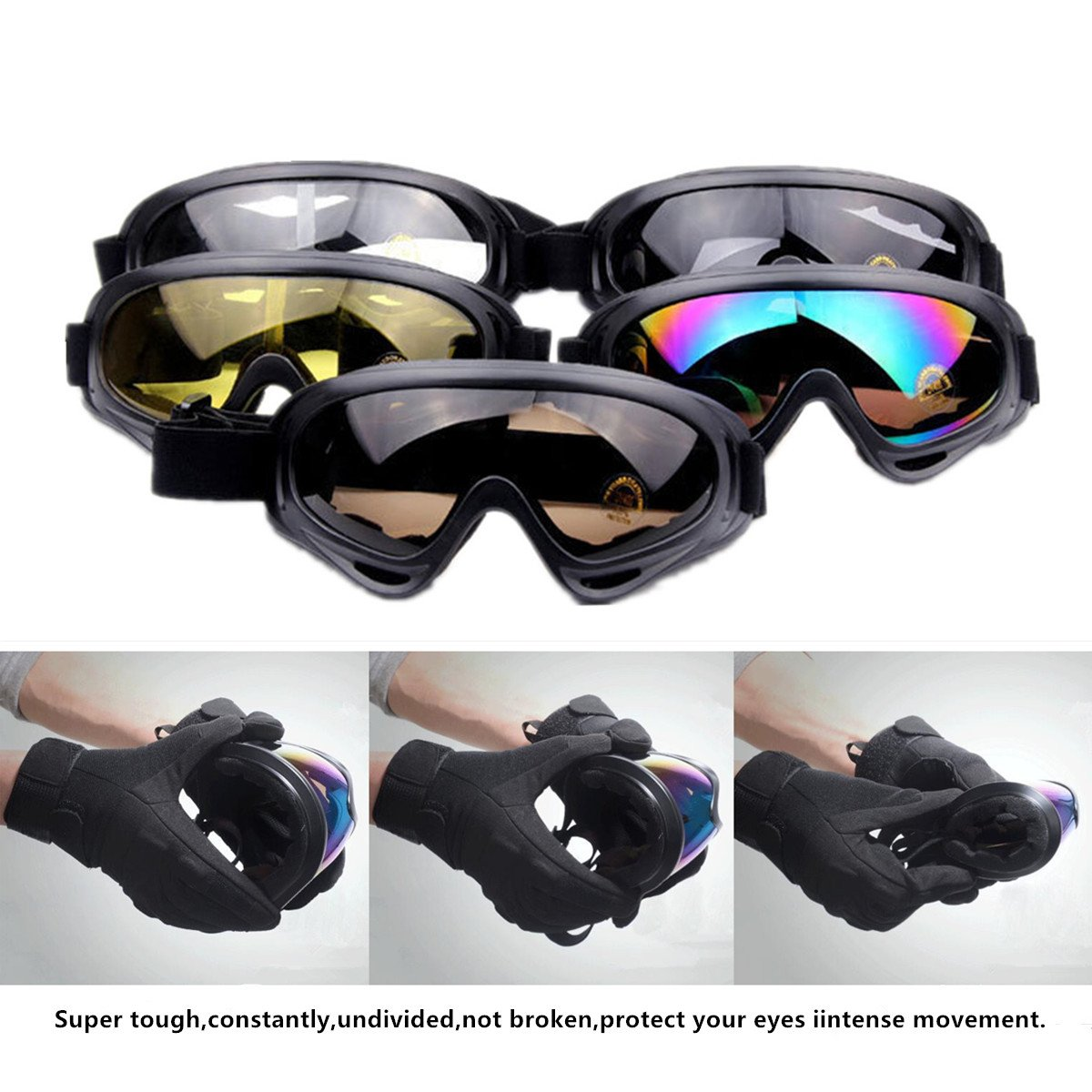 4-FQ Motorcycle Goggles, Dirt Bike Goggles Motorcycle Glasses Grip For Helmet,Adjustable UV Protective Windproof Dustproof Anti Fog Sunglasses for ATV Off Road Racing