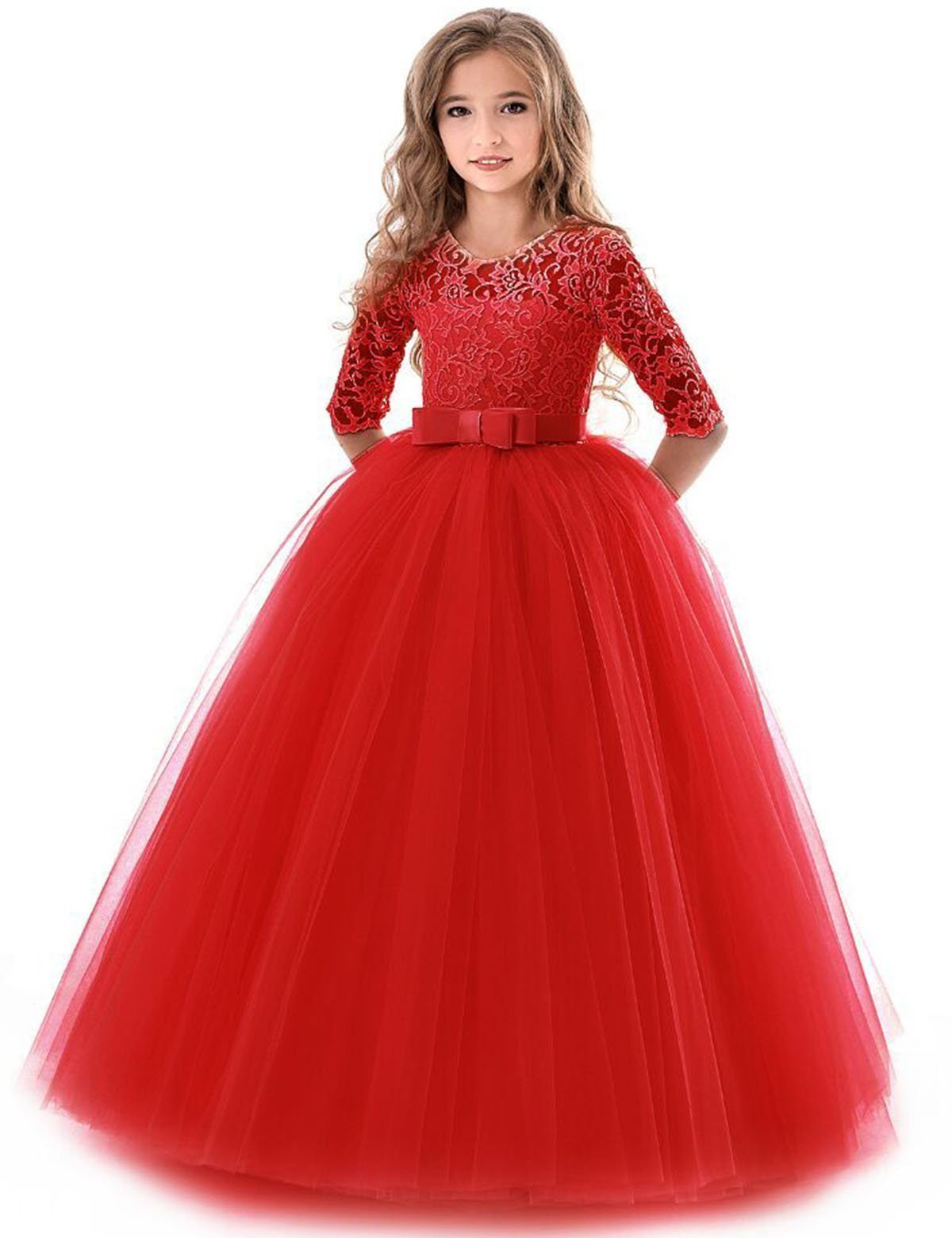 NNJXD Girls Pageant Embroidery Ball Gown Princess Wedding Dress Size (170) 13-14 Years Red